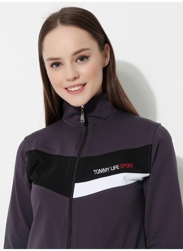 Tommy Life Sport Ön Garnili Eşofman Kadın Tunik Takım Mor